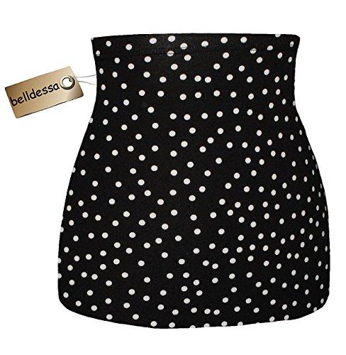 Belldessa Jersey Baumwolle - schwarz weiß gepunktet / Punkte - Nierenwärmer / Rückenwärmer / Bauchwärmer / Shirt Verlängerer - Größe: Damen Frauen M - ideal auch für Bl..