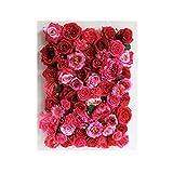 LIYONG Flor Artificial de la Pared de la Flor Rojo para la decoración de los telón de Fondo, el Lugar de la Boda, la Fiesta, la decoración casera, 60 cm x 40 cm (Size : 4pack)