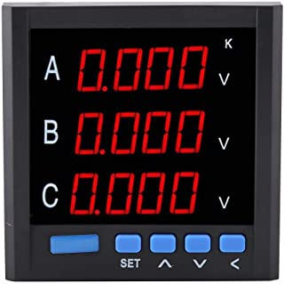 Digital Voltmeter Three-phase Voltage Meter Current Gauge 4-bit LCD Display Voltmeter Automation Equipment Monitor Panel, Black