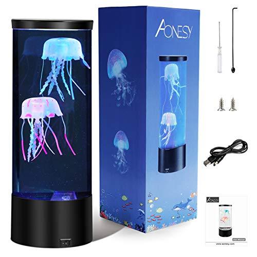 Quallen Lampe AONESY Lavalampe Aquarium Lampe Farbwechsellampe Quallen Aquarium Stimmungslampe Lava Lampen für Kinder Schlafzimmer Weihnachten Geburtstagsgeschenk Homeoffice