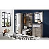 ROCKY Garderoben Set in Silber-Eiche Optik - moderne Softclose Flurgarderobe für Ihren Eingangsbereich - 270 x 201 x 38 cm (B/H/T) - 6