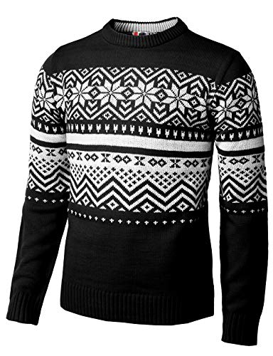 H2H Mens Casual Snowflake Patterned Christmas Pullover Sweater Black US S/Asia M (CMOSWL035)