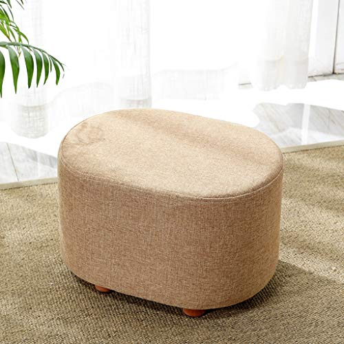 Pouf repose-pieds repose-pieds simple maison moderne salon chambre tissu petit tabouret avec siège rembourré jambes en bois (Couleur : Beige)