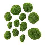 Healifty Piedra de Musgo Bolas de Musgo Vívidas Bolas Decorativas Bolas de Simulación para Terrarios Acuarios Decoración de Frascos de Vidrio 12 Piezas