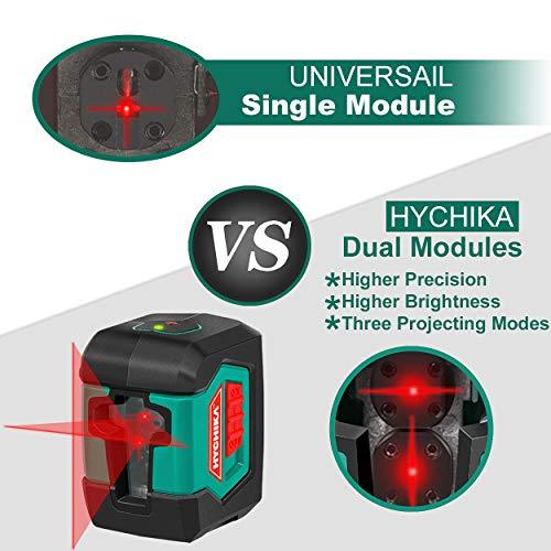 Kreuzlinienlaser 15M, HYCHIKA Selbstnivellierend Linienlaser mit Dualem Lasermodul 360°Umschaltbar Horizontal/Vertikal mit Halterung, Schutztasche und 2 x AA Batterie - 2