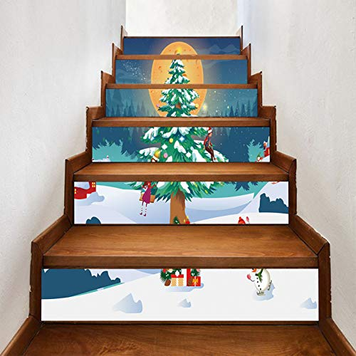 Ratio Christmas New Snow Christmas Tree Stair Sticker, Non-marking, Wear-resistant, Waterproof, Self-adhesive Stair Sticker, Holiday Dress (7X40in) 18X100cm×6pcs