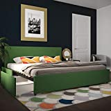 Novogratz Kelly Upholstered Storage Platform Bed - King (Green Linen)