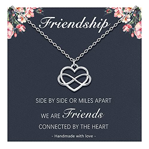 Friendship Necklace for Women Cute Silver Infinity Heart Necklace Best Friend Necklace Jewelry Birthday Gifts for Women Teen Girls Bestie Bridesmaid Sister