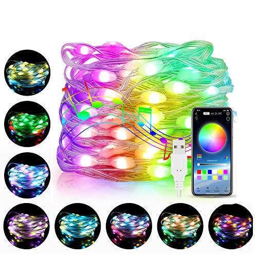 KNMY Luces de cuerda de hadas inteligentes WiFi, 60 luces LED USB con sincronización de música, luces de control de aplicación, tira de luces LED RGB para niños, decoración de dormitorio y hogar