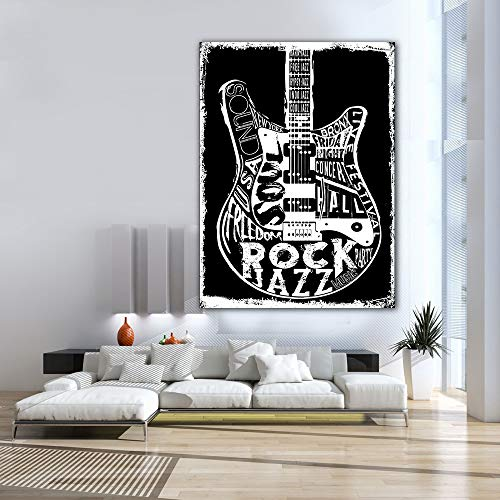 LWJZQT canvas prints 1 Stuk Modern Home Decor Waterdichte Afbeeldingen Hard Rock Muziek Poster Woonkamer Hd Canvas Wall Art Inlijsten Schilderijen