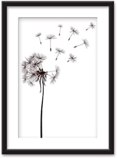 NWT Black Paper Framed Canvas Wall Art for Living Room, Bedroom Dandelions Canvas Prints for Home Decoration Ready to Hanging - 23x31 inches