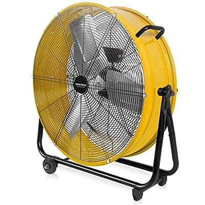 VENTISOL 24 Inch High Velocity Barrel Fan for Workshop Basement Greenhouse, All-Metal Construction 360° Tilting Heavy-duty Drum Fan 3-Speed, 2 Handles&Castors