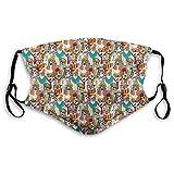 Cómodo estampado shiled, perro, Hipster Bulldog Schnauzer Pug razas con gafas sombreros bufanda patrón colorido dibujos animados, multicolor, a prueba de viento para adultos Tamaño: M