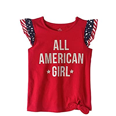 Assorted Toddler Girl 4th of July Graphic Tank Top Shirt (Sizes 2T-5T) (2T, All American Girl)