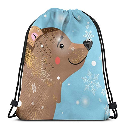 AEMAPE Bolsas de Lazo Snow Bear Backpack Pull String Bags Bulk Sports Storage Gimnasio para niños Mochila de Viaje de Hombro
