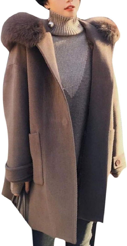 Cobama Women's Belted Design Hooded Top Woolen Coat with Faux Fur Hood