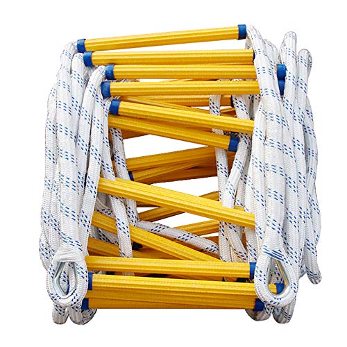 Warooma Strickleiter, Feuerfeste Rettungsleiter, Feuerleiter für Notfälle, Rettungsseilleiter mit Karabinern-für den schnellen Einsatz im Feuer/Katastrophe