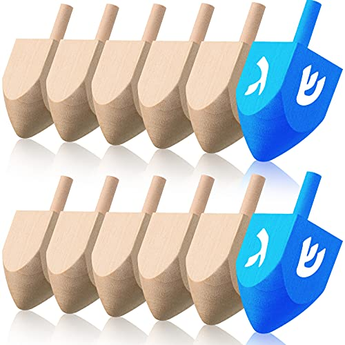 Sumind 12 Pieces Hanukkah Wooden Dreidel 2.5 Inches Unfinished Natural Wood Dreidels Blank Wooden Chanukah Dreidels Ready to Paint Decorate for Hanukkah Party Game Decoration and DIY Project