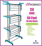 LivingBasics Stainless Steel Double Pole Foldable Clothes Drying Stand/Cloth Dryer Stands/Laundry Dry Rack with Wheels for Indoor/Outdoor/Balcony (Cyan Blue) (ABS Plastic)