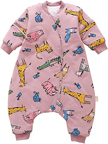 YZHM Baby-Schlafsack mit Legs Warm 2.5 Tog Winter mit abnehmbarem Langarm Winter Schlafsack mit Fuß (90/36-48 Monate, Blue House),Rosa Tier,80/18-36 Monate