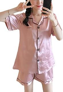 ORANDESIGNE Printemps Été Femmes Ensemble Pyjama en Satin Manche Courte Vêtements de Nuit 2 Pièces Col-V Top Bouton et Pan...
