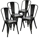 Devoko Metal Indoor-Outdoor Chairs Distressed Style Kitchen Dining Chairs Stackable Side Chairs with Back Set of 4 (Black Gold)