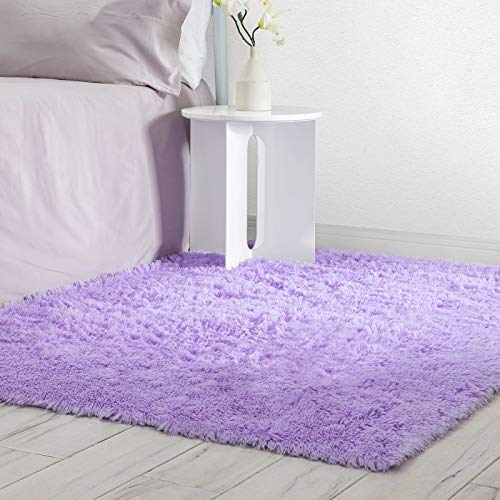 Veken Fluffy Shag Area Rugs for Living Room Bedroom Home Decor Nursery, Machine Washable Indoor Carpets for Girls Boys Kids Room 4x5.3 Feet, Purple