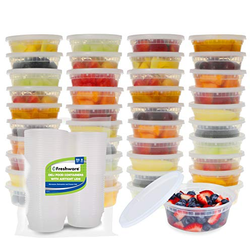 Freshware Food Storage Containers with Lids [40 Pack, 8oz] - Plastic Containers, Deli, Slime, Soup, Meal Prep Containers | BPA Free | Stackable | Leakproof | Microwave/Dishwasher/Freezer Safe