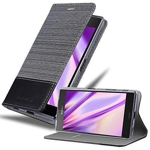 Cadorabo Hülle für Sony Xperia Z5 in GRAU SCHWARZ - Handyhülle mit Magnetverschluss, Standfunktion und Kartenfach - Case Cover Schutzhülle Etui Tasche Book Klapp Style