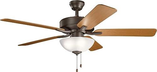 "wholesale Kichler 330017SNB Basics Pro Select 52"" Convertible wholesale Ceiling Fan 2021 with LED Lights, Satin Natural Bronze sale"