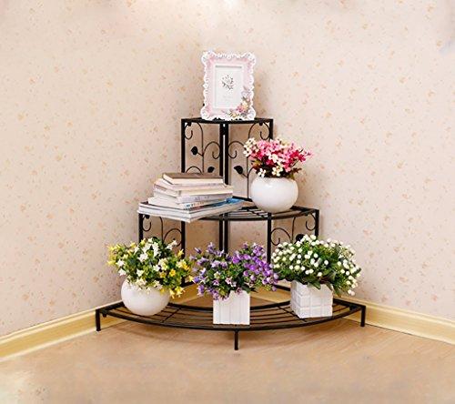 Style Européen Fer Creative Plante Stand Fleur Pots Étagère Fleur Rack Pour Balcon Salon Intérieur 85 * 60 * 65 CM (Couleur : Noir)