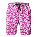 Jiger Pink Texture Camouflage Pattern Mens Beach Shorts Quick Dry Swimming Shorts L