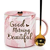 Good Morning Beautiful Novelty Coffee Mug Gifts for Her Woman, Beautiful Woman Lady Fashion Lover Girl Pretty Mom Grandma Aunt Daughter Best Friend Ever, Pink Marble Ceramic Coffee Cup 11.5oz