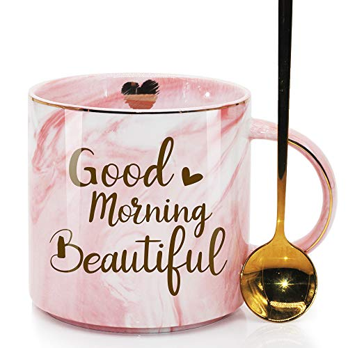 SUUURA-OO Good Morning Beautiful Novelty Coffee Mug Gifts for Her Beautiful Woman Lady Fashion Lover Girl Pretty Mom Grandma Aunt Daughter Best Friend Ever, Pink Marble Ceramic Coffee Cup 11.5oz