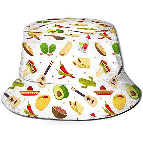 Henry Anthony Unisex Bucket Hat Mexikanisches Essen Tequila Red Printed Outdoor Sonnenhut Summer Travel Outdoor Cap