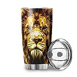 Taza de viaje Homedb de acero inoxidable, con diseño de leopardo, 600 ml, con tapa resistente a salpicaduras, taza de café de acero inoxidable, acero inoxidable, blanco, 600 ml