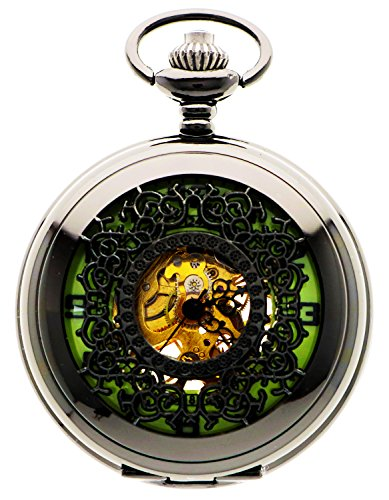 Steampunk Vintage Luminous Design Case Mechanical Pocket Watch with Chains for Xmas Gifts