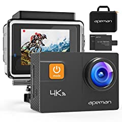 4K ACTION CAMERA WITH 20MP: APEMAN A80 action camera features 4K 24FPS, 2K/30fps, 1080P/60FPS video, and 20MP photo resolution enables you to take incredible photos and capture every exciting moment. ADJUSTABLE WIDE ANGLE AND ANTI-SHAKING: This sport...