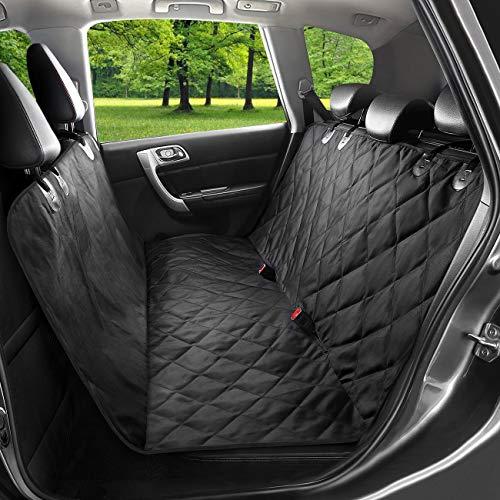 Coprisedile per auto per auto con guinzaglio per cintura di sicurezza e custodia - Supporto antiscivolo impermeabile con ancoraggi per sedile, 148 cm x 138 cm, stile amaca, Misura universale