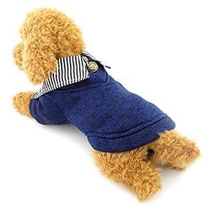 Zunea Petit Chien Vêtements pour femelle mâle Manteau d'hiver en polaire rayé Revers Sweat-shirt