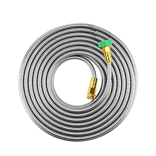 "BEAULIFE Short Metal Steel Garden Hose 15 Feet Drinking Rv Water Hose Dehumidifier Drain Hose Connector Extension Attachments 3/4"" Hose Bib Faucet Reel Extender for Outdoor"