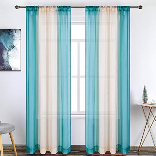 Teal Sheer Curtains Set of 2 Panels Two Tone Ombre Curtains for Bedroom Coastal Beach Decor Blue Beige Voile Rod Pocket Reversible Gradient Curtains Privacy and Light Filtering 52X84 Inch