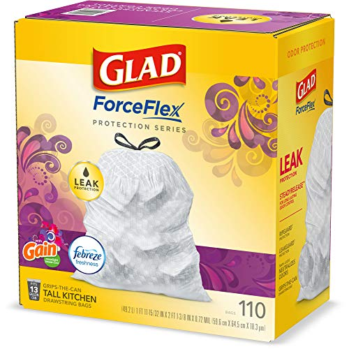 Glad ForceFlex Tall Kitchen Drawstring Trash Bags – 13 Gallon White Trash Bag, Gain Island Fresh Scent with Febreze Freshness – (Package May Vary) Protection Series 110 Count