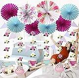 Sayala Kit décoration Florale Tea Party, Ventilateur Papier Floral Bleu Rose, guirlandes Fleurs suspendues, bannière Drapeau Triangle Floral pour décorations Mariage, Douche bébé Anniversaire