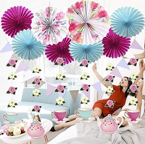 Kit de decoración de Fiesta de té Floral, Abanico de Papel Floral Rosa Azul, guirnaldas Colgantes de Flores, Bandera de triángulo Floral para Bodas, Decoraciones de cumpleaños para Baby Shower