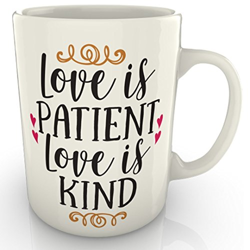Taza con texto en inglés «Love is Patient Love is Kind», regalo de aniversario de San Valentín