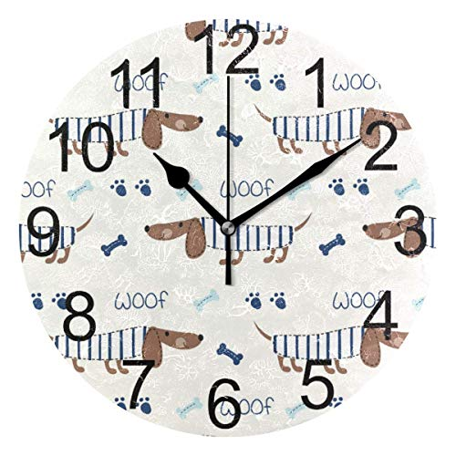 FETEAM Pug Puppy Dog Round Wall Clock Battery Operated Animals Dogs Footprint Bone Clock Quartz Clocks Home School Office