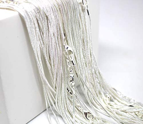 18 Inch Snake Chains Pack of 1 Sterling Silver 925 Snake Chains Bulk Sterling Silver Plated product image