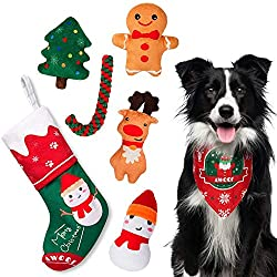 ✿ SUPER STAR CHRISTMAS STOCKING FOR DOGS - Our pet Christmas toy set is very rich and varied, including 1*Pet Bandana 1*Cute Christmas socks, 1*Squeaky Gingerbread Man, 1*Stuffing Snowman, 1*Elk 1*Christmas Tree, 1*Dog Rope Toys.These pet toys are en...