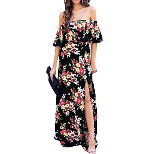 JYC Vestidos Largos, Vestidos Mujer Verano 2018 Vintage Mujer Rayado Bohemia Vestido,De Las Mujeres Maxi Largo Vestir Apagado Hombro Flor Impresión Corto Manga Casual Vestir (XL, Negro)